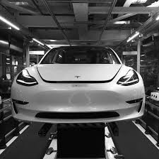rare photo of a tesla model 3 on the factory production line