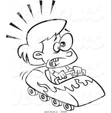 vector of a cartoon scared on a roller coaster outlined