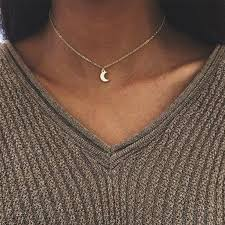 cute choker necklace images Cute small moon pendant necklace for women gold color chain choker jpg