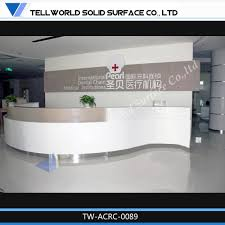 Reception Station Desk by Tell World Custom Acrylic Solid Surface White Curved Hospital