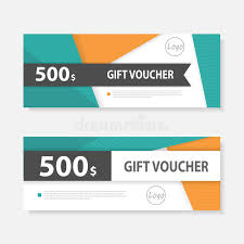 green gift voucher vector illustration orange green gift voucher template with colorful pattern gift