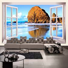 compare prices on wallpaper beach 3d online shopping buy low custom photo wallpaper 3d stereoscopic window beach scenery living room tv background wall mural print wallpaper