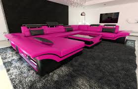 High Quality Sofa Manufacturers Leather Sectional Sofa Enzo Xxl Pink Black Ebay