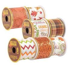 3yd glitter autumn fall harvest wired ribbon thanksgiving
