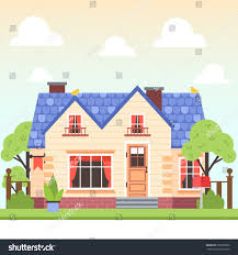 illustration cute colorful house trees bird stock vector 355909502