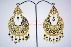 punjabi jhumka earrings black jadau jewellery gold traditional punjabi earrings