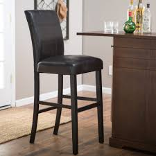 oak wood bar stools black oak wood bar stool with leather cushioned seat 930x930 white
