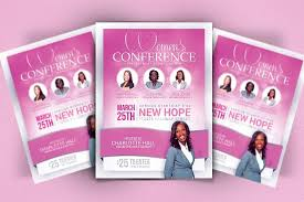 women u0027s conference flyer template flyer templates creative market