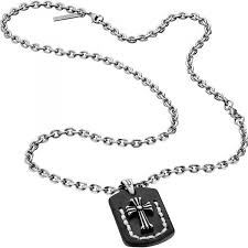 man cross necklace images Ip black cross pendant necklace florence police man s14aeg01p jpg