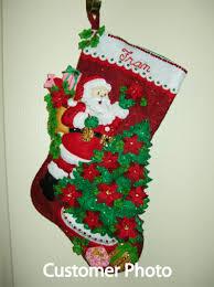 santa poinsettia tree bucilla christmas stocking kit