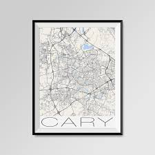 cary carolina map cary city map print cary map poster