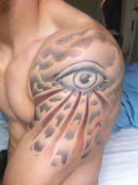 collection of 25 rays eye triangle and clouds tattoos on biceps