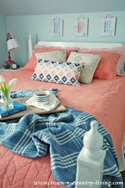 Coral Aqua Bedroom Home Tour Celebrating Spring With Pops Of Coral Town U0026 Country