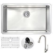 kitchen sink faucet set anzzi vanguard undermount stainless steel 30 in single bowl kitchen