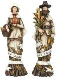 thanksgiving figures set of 2 harvest give thanks pilgrim thanksgiving figures