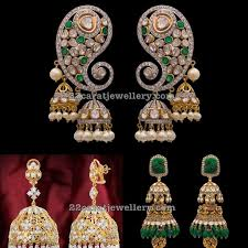 heavy diamond earrings antique finish diamond heavy jhumkas indian jewelry