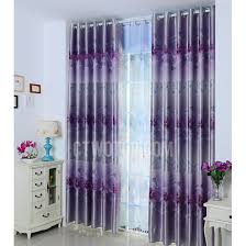 Blackout Purple Curtains Blue And Purple Side Printed Pattern Polyester Blackout Curtain