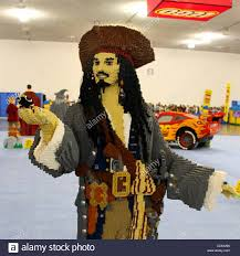 captain jack sparrow from pirates of the caribbean made from legos