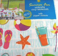 Round Patio Table Cover With Zipper by Amazon Com Summertime Fun Vinyl Umbrella Tablecloth With Hole
