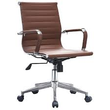 Leather Office Chair 2xhome Brown Modern Ergonomic Mid Back Pu Leather Executive Office