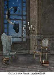 Armchair Books Stock Illustrations Of Fantasy Room With Armchair Books And Wand