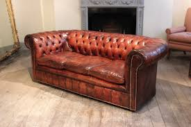 Long Chesterfield Sofa by Circa 1920s English Leather Chesterfield Sofa Antique Seating