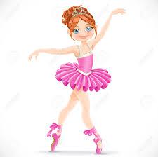 beautiful brunette ballerina dancing in pink dress isolated