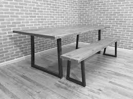 grey wood dining table brinkley grand rustic industrial steel reclaimed wood dining table