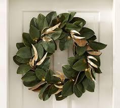 lit magnolia wreath pottery barn au