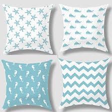 theme pillows howarmer cotton canvas aqua blue decorative pillows cover set of