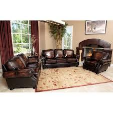 Abbyson Leather Sofa Reviews Abbyson Tannington 4 Piece Hand Rubbed Leather Sofa Set Brown