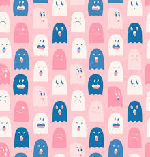 seamless pattern with cute ghosts spectres spooks background