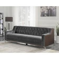 Wooden Frame Sofa Bed Chic Home Parker Sofa Button Tufted Velvet Walnut Finish Swoop Arm