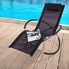 trueshopping black zen sun lounger rocker chair folding garden