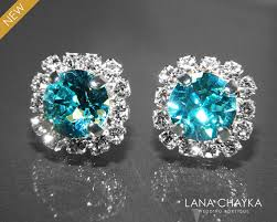 turquoise bridal earrings light turquoise halo earrings swarovski rhinestone