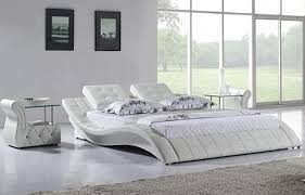 White King Platform Bed Brilliant Innovative White Leather Platform Bed With Modern