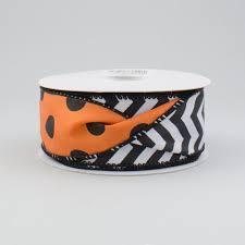 sided ribbon 1 5 sided chevron polka dot ribbon orange black