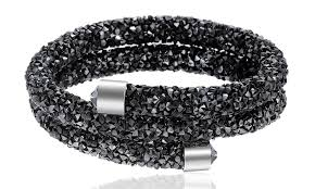 black swarovski crystal bracelet images Crystal energy double wrap bracelet made with swarovski crystals jpg