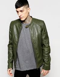 mens leather biker jacket goosecraft leather biker jacket in green for men lyst