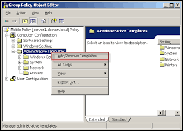 installation of an administrative template for managing the