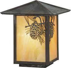 Outdoor Light Post Fixtures by Meyda Tiffany 73549 Winter Pine Rustic Bai Verd Outdoor Lamp Post