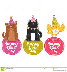 catdog happy birthday labels with cat dog and bird stock vector image