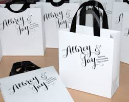 personalized wedding welcome bags mr mrs wedding welcome bags with satin ribbon and your names