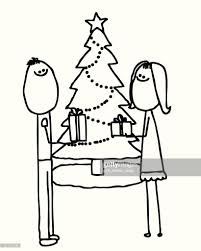 stick people exchange gifts at christmas vector art getty images