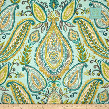 Turquoise Paisley Curtains Hand Made Custom Designer Curtain Panels Robert Allen Ombre
