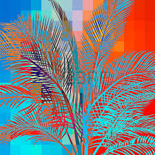 multicolored abstract background with tropical palm trees in
