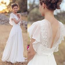 summer a line chiffon lace backless ivory beach coast wedding