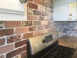 painted white brick backsplash