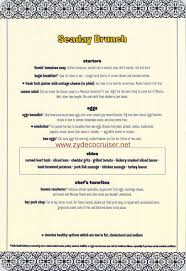 menu for brunch carnival cruise line seaday brunch menu food pictures