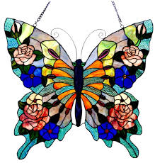 stained glass butterfly l colorful butterfly tiffany style stained cut glass window panel 23